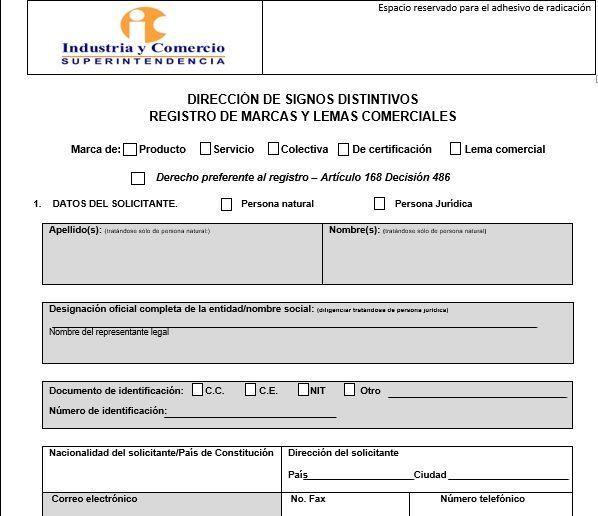 formato registro de marca